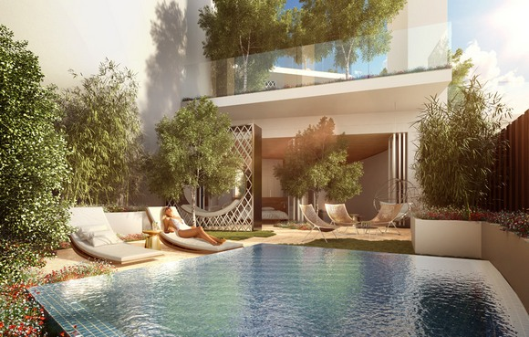Svala terasa ima bujnu baštu koja pomaže stvaranju mikro-klime