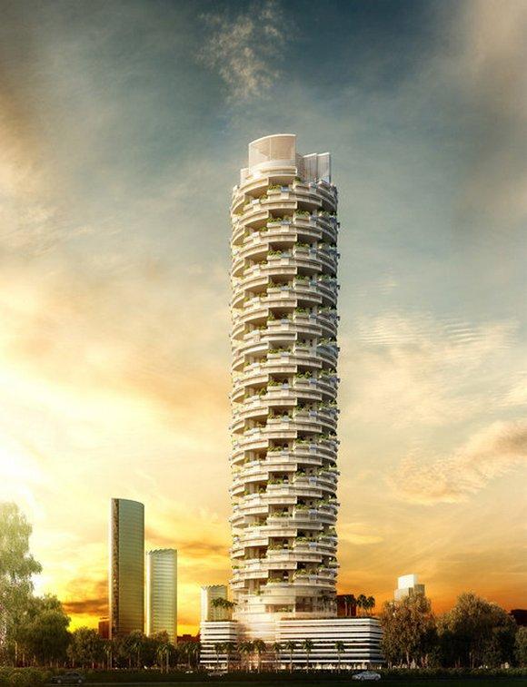Arhitektura tornja je inovativna i uključuje maskimalno korišćenje dnevne svetlosti
