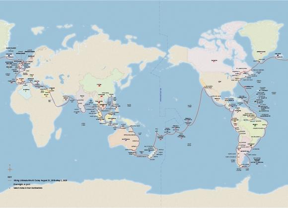 Mapa krstarenja pokazuje da će putnici imati priliku da zaista obiđu planetu
