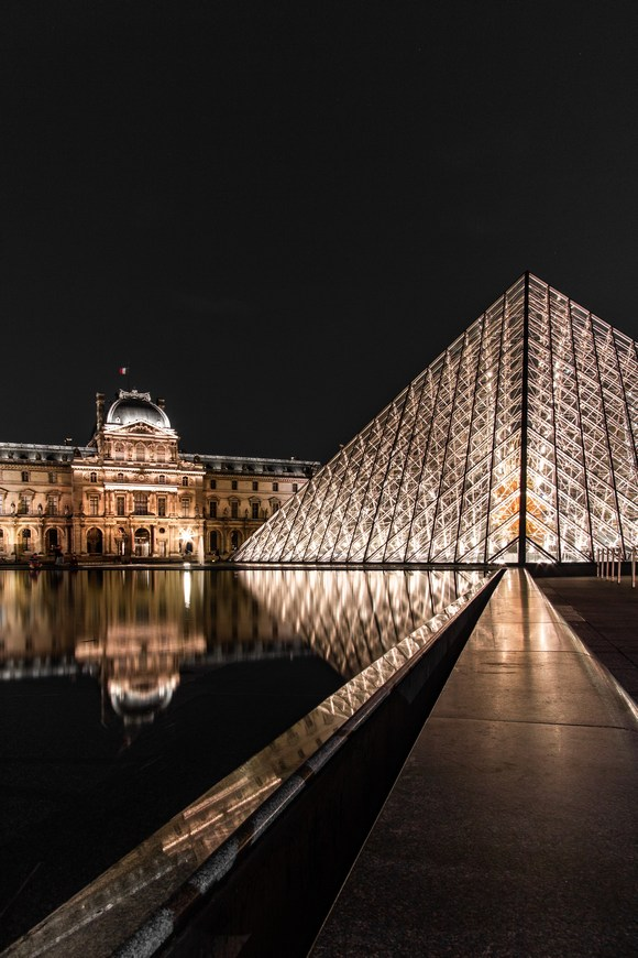 Glass pyramid in front of the Louvre